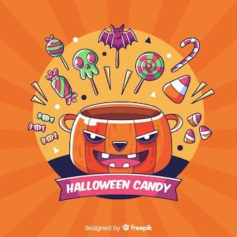 Fondo de caramelos de halloween dibujados a mano