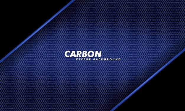 Fondo de carbono de diseño de tecnología moderna en fibra de carbono azul oscuro y negro