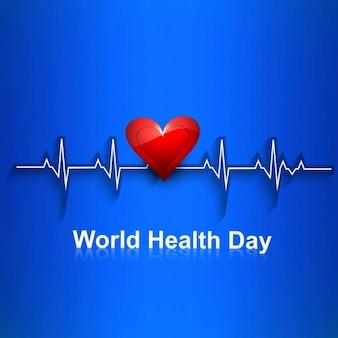 Fondo de cardiograma con corazón rojo