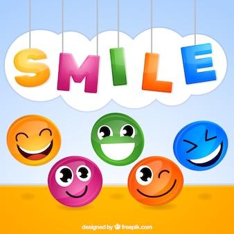 Fondo con caritas sonrientes multicolor