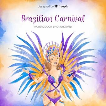 Fondo del carnaval de brasil en acuarela