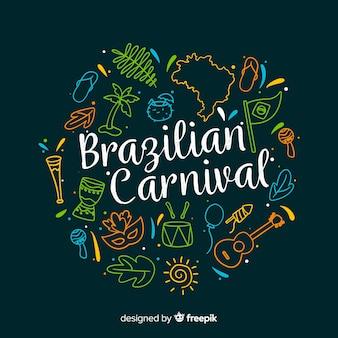 Fondo del carnaval de brasil dibujado a mano