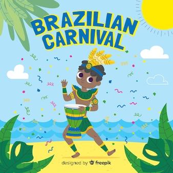 Fondo de carnaval de brasil dibujado a mano