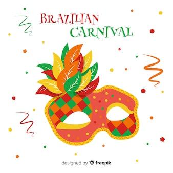 Fondo carnaval brasileño máscara dibujada a mano
