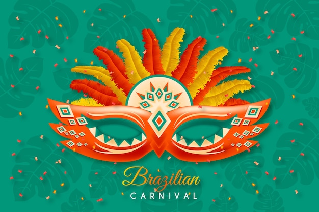 Fondo de carnaval brasileño con máscara
