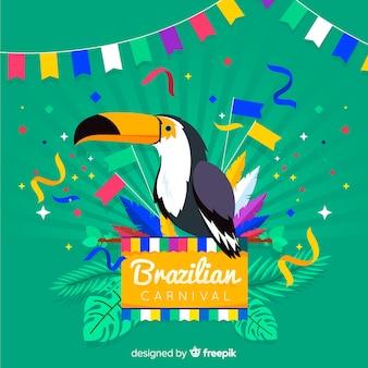 Fondo carnaval brasileño tucán dibujado a mano
