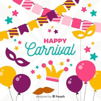 Fondo carnaval elementos planos