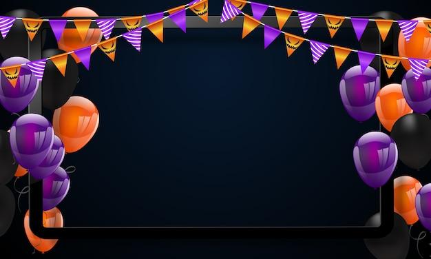 Fondo del carnaval de halloween, globos de color naranja púrpura