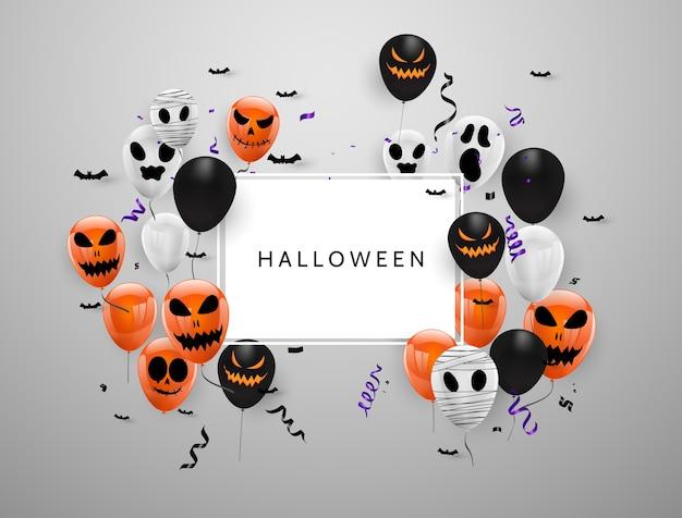 Fondo del carnaval de halloween, globos púrpuras naranjas, fiesta de diseño de concepto,