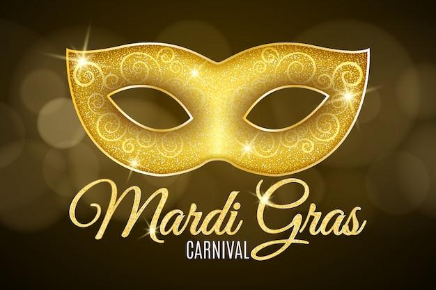 Fondo para el carnaval de mardi gras. texto de brillo dorado. lujosa máscara de purpurina dorada con destellos para una mascarada.