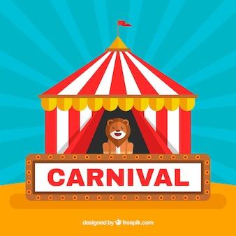 Fondo de carnaval con oso en tienda