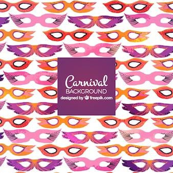 Fondo para carnaval con patrón de máscaras