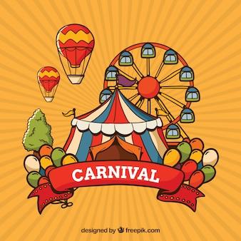 Fondo de carnaval con tienda y noria