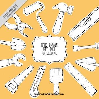 Fondo de carpintería con herramientas dibujadas a mano
