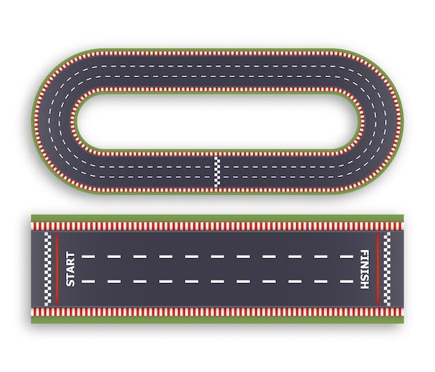 Fondo de carrera de karts. vista superior. línea de asfalto y caminos de pista circular. líneas de salida y llegada.
