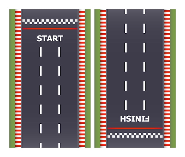 Fondo de carrera de karts. vista superior. línea de asfalto y vías circulares. líneas de salida y meta. ilustración.