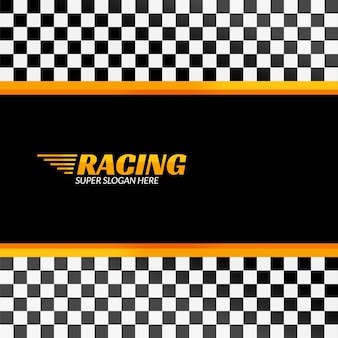 Fondo de carreras con bandera de carrera, pancarta de diseño deportivo o póster.