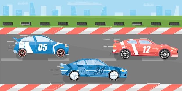 Fondo de carreras de coches con pista de carreras y coches planos.
