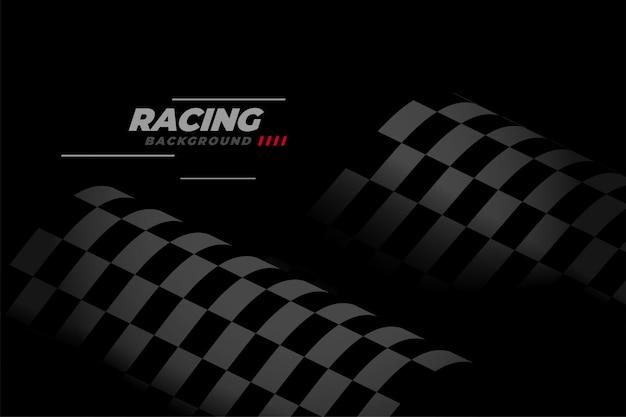 Fondo de carreras negro con bandera a cuadros