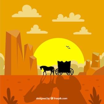 Fondo de carruaje en un paisaje del oeste