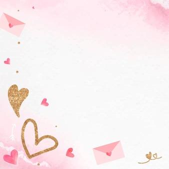 Fondo de carta de amor de san valentín con corazón brillante