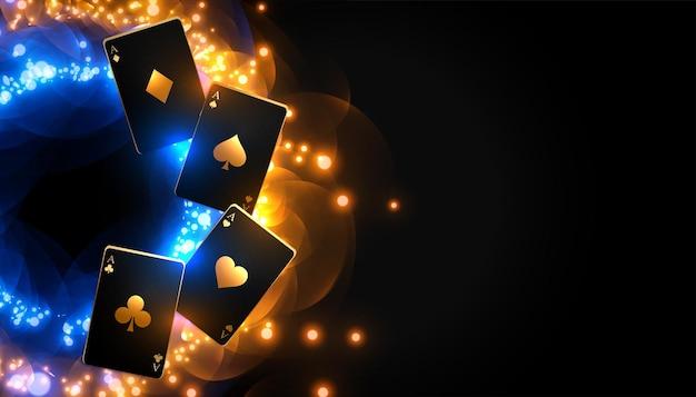 Fondo de cartas de casino con luces de destellos