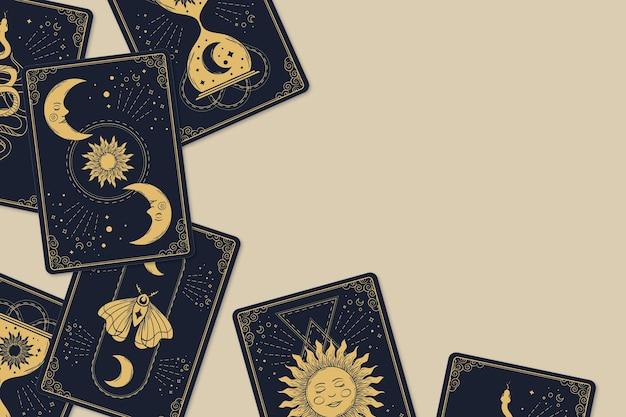 Fondo de cartas de tarot dibujadas a mano