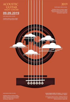 Fondo de cartel de concierto de guitarra