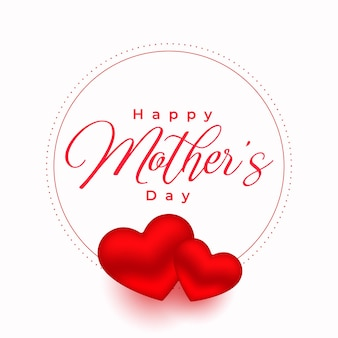 Fondo del cartel de los corazones rojos del día de la madre
