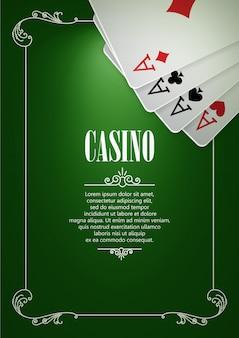 Fondo del cartel del logotipo del casino o folleto con naipes.