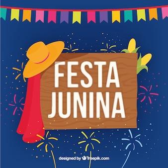 Fondo con cartel de madera de festa junina