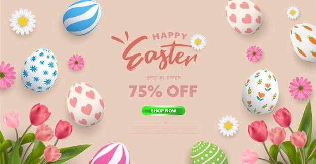Fondo de cartel de pascua feliz o diseño de banner con huevos de pascua coloful con patrón lindo y flores de tulipán. saludos plantilla de promoción y compras para el domingo de pascua.