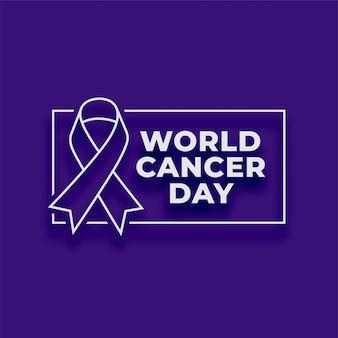 Fondo de cartel púrpura del día mundial del cáncer