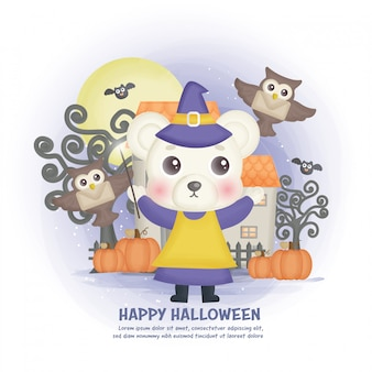 Fondo de casa embrujada de halloween con una bruja.