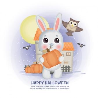 Fondo de casa embrujada de halloween con un conejo.