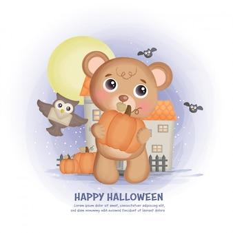 Fondo de casa embrujada de halloween con un oso.
