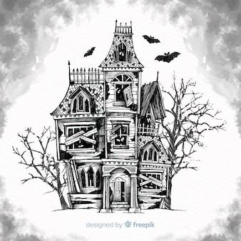 Fondo con casa encantada de halloween dibujada a mano