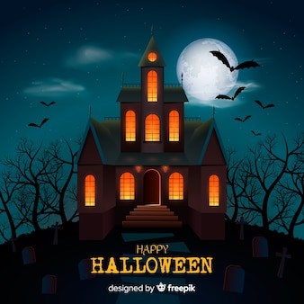 Fondo con casa encantada de halloween con luces difuminadas
