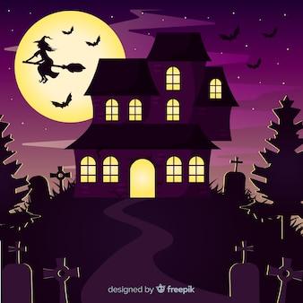 Fondo de casa de halloween con cementerio, bruja y luna llena