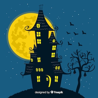 Fondo con casa de halloween