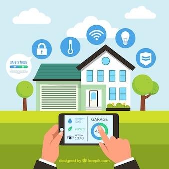 Fondo de casa inteligente con control de teléfono inteligente