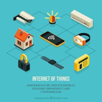 Fondo con casa y otros elementos isométricos con internet