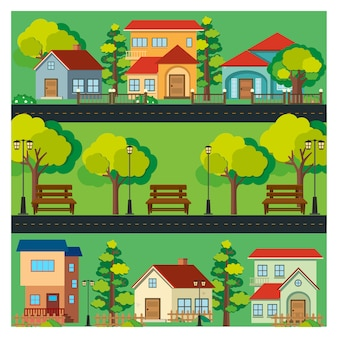 Fondo de casas a color
