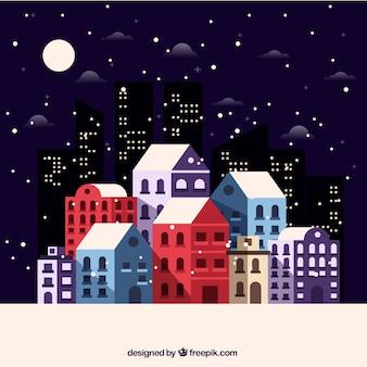 Fondo de casas de colores y rascacielos negros