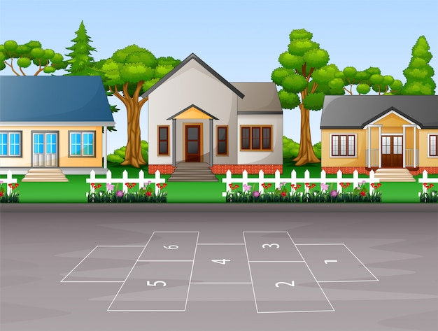 Fondo de casas suburbanas