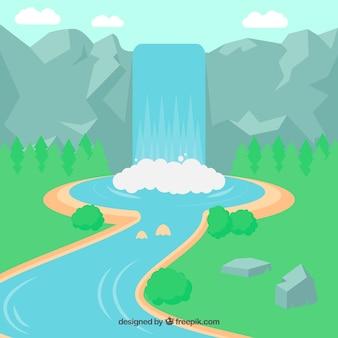 Fondo de cascada en estilo caricatura