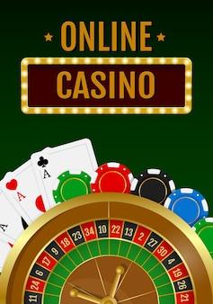 Fondo de casino en línea con ruleta con fichas y cartas de juego.