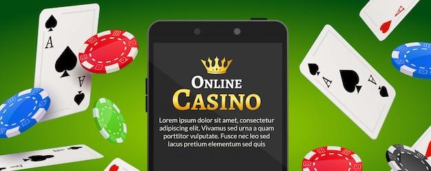 Fondo de casino móvil en línea. concepto en línea de la aplicación de póquer. teléfono inteligente con chips, tarjetas