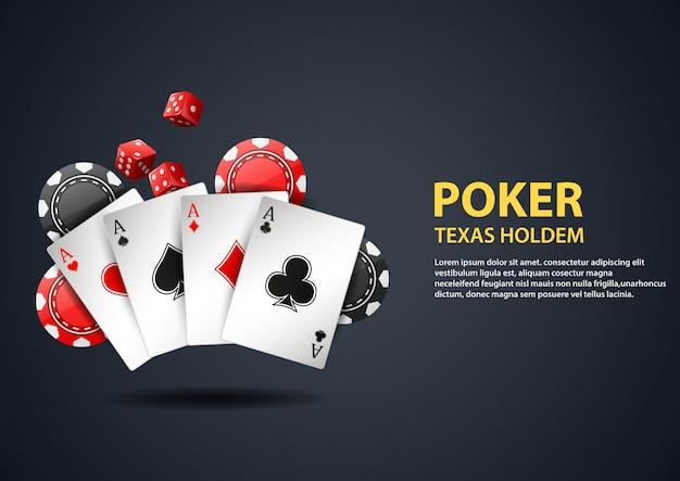 Fondo de casino con tarjeta de póker y fichas.