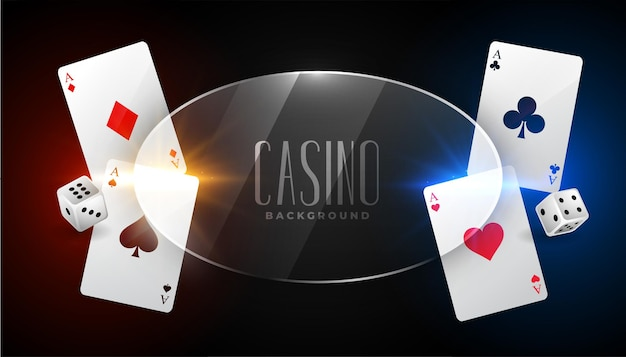 Fondo de casino con tarjetas as y marco de vidrio.